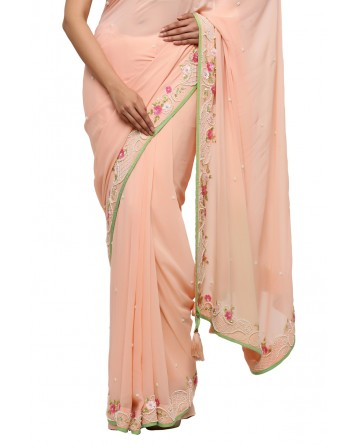 Ranas Peach Color Pure Georgette Saree