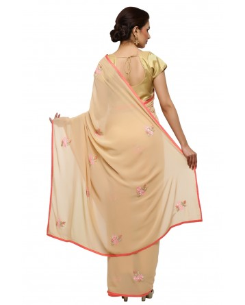 Ranas Beige Color Georgette Saree
