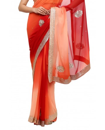 Ranas Pure Georgette Red & Peach Saree