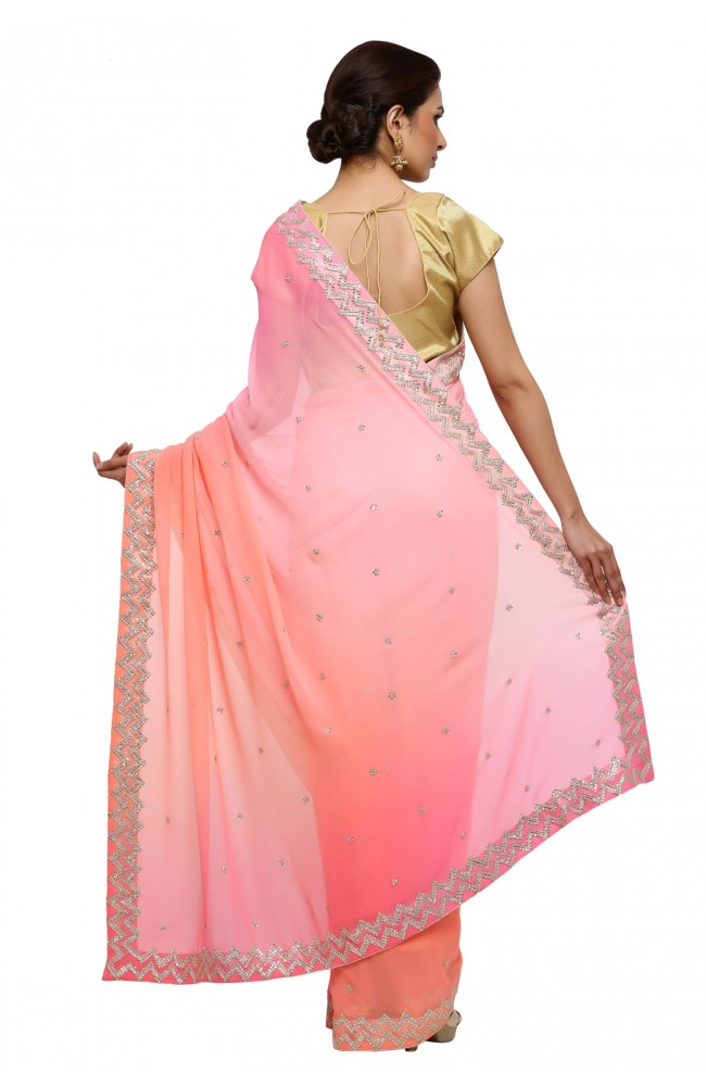 Ranas Peach Pink Shaded Pure Georgette Saree