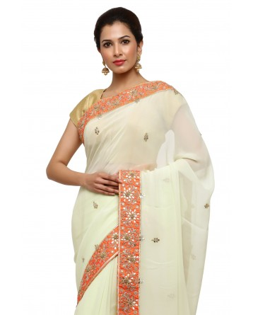 Ranas Pista Green Gota Patti saree