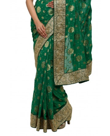 Ranas Bottle Green Georgette Saree