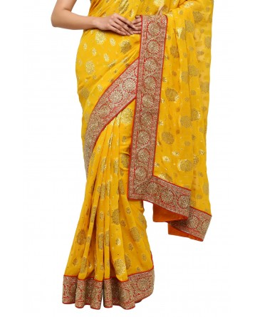 Ranas Mustard Yellow Georgette Saree