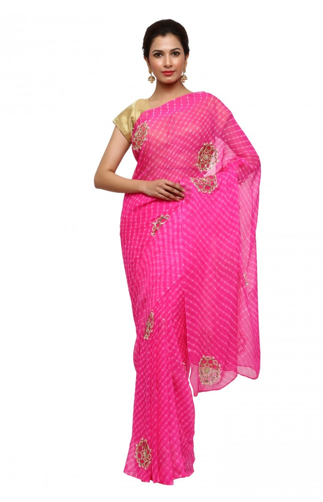 Ranas Pink Mothda Pure Georgette Saree