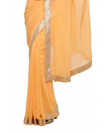 Ranas Peach Color Gotta Saree