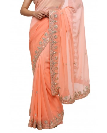 Ranas Peach Shaded Georgette Saree