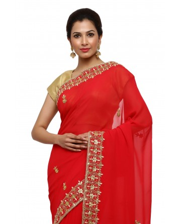 Ranas Red Georgette Gota Patti Saree