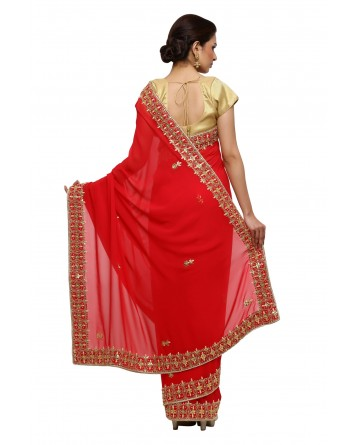 Ranas Red Georgette Gotta Patti Saree