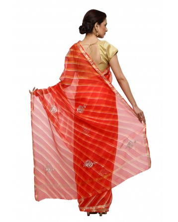 Ranas Orange Leheriya Kota Silk Saree