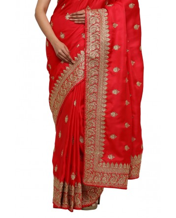Ranas Red Kundan Work Saree