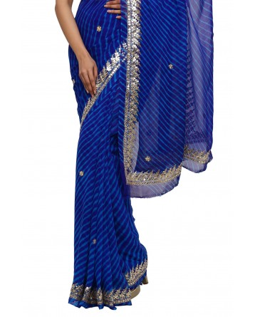 Ranas Blue Leheriya Gota Patti Saree
