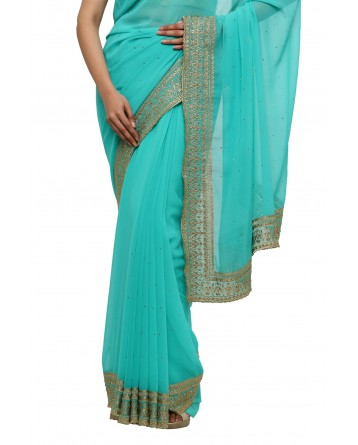 Ranas Firozi Color Faux Georgette Saree