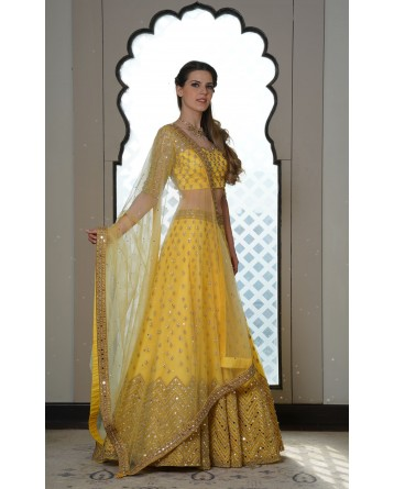 Ranas Yellow Mirror Work Lehenga