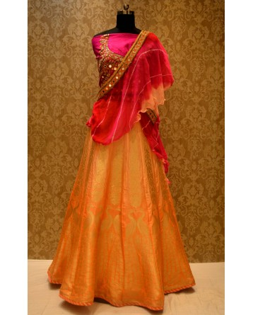 Ranas Orange Shaded Lehenga