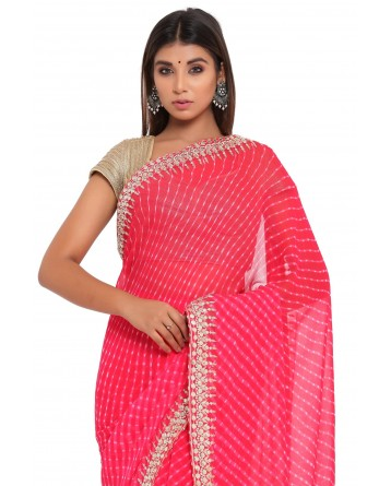 Ranas Gota Patti Red Mothda Saree