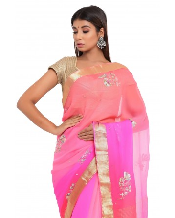 Ranas Pink & Red Shaded Chiffon Saree