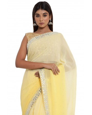 Ranas Yellow Shaded Mirror Work Saree