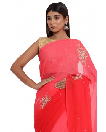 Ranas Red Shaded Chiffon Saree