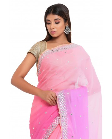 Ranas Mirror work Chiffon Saree