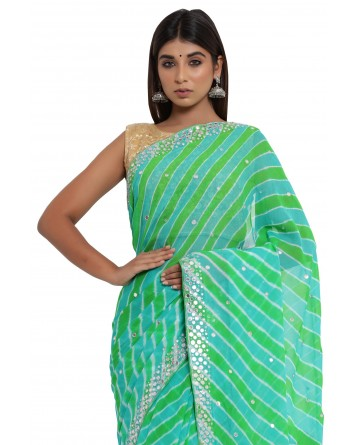 Ranas Mirror Work Green Leheriya Saree