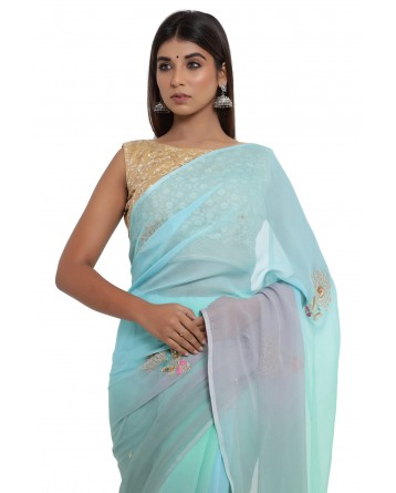 Ranas Chiffon Turquoise & Grey Shaded Saree