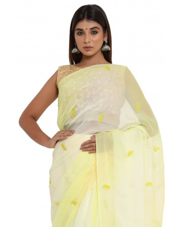 Ranas Yellow Shaded Chiffon Saree