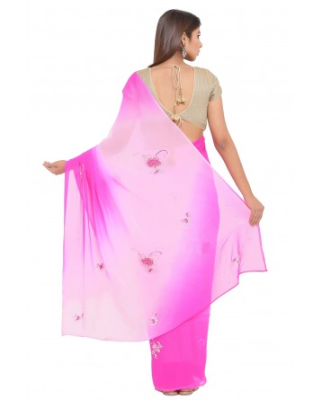 Ranas Pink & Rani Shaded Saree