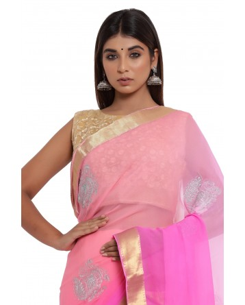 Ranas Pink & Peach Shaded Chiffon Saree