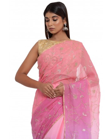 Ranas Mauve & Peach Shaded Saree