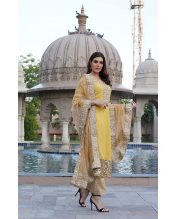 Ranas Yellow Zardosi Work Suit