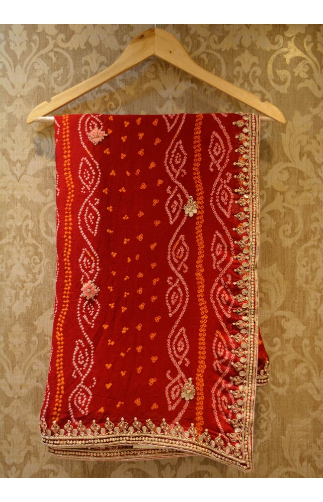 Ranas Red Bandhej Saree