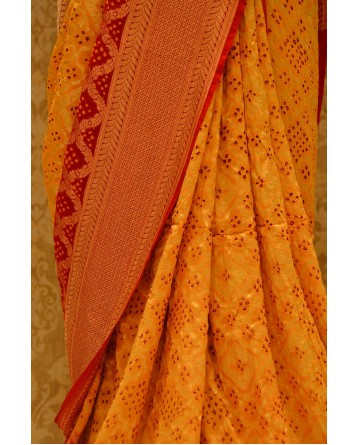 Ranas Red & Yellow Jamnagri Bhandej Saree