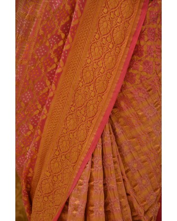 Ranas Pink shaded Jamnagri Bhandej Saree