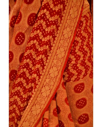 Ranas Red Jamnagri Bhandej Saree