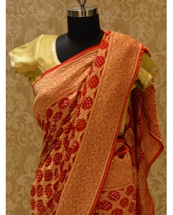 Ranas Red Jamnagri Bhnadej Saree