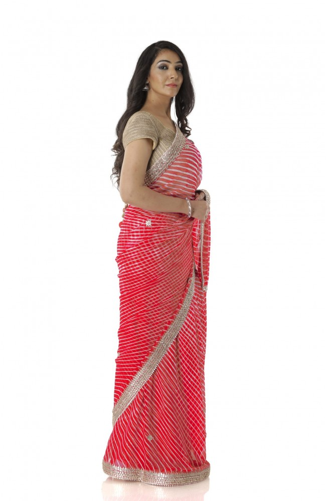Ranas Red Leheriya Saree