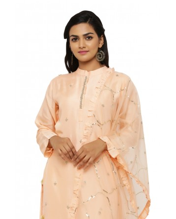 Ranas Peach Tussar Silk Suit