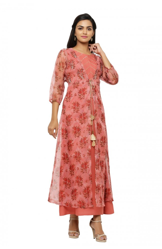 Ranas Wine Color Kurta & Jacket set
