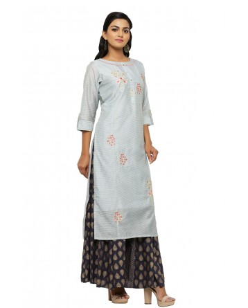 Ranas Grey Color Kurta Plazo Set
