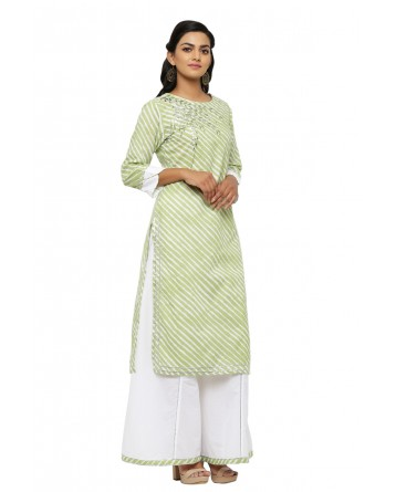 Ranas Green & White Leheriya Suit