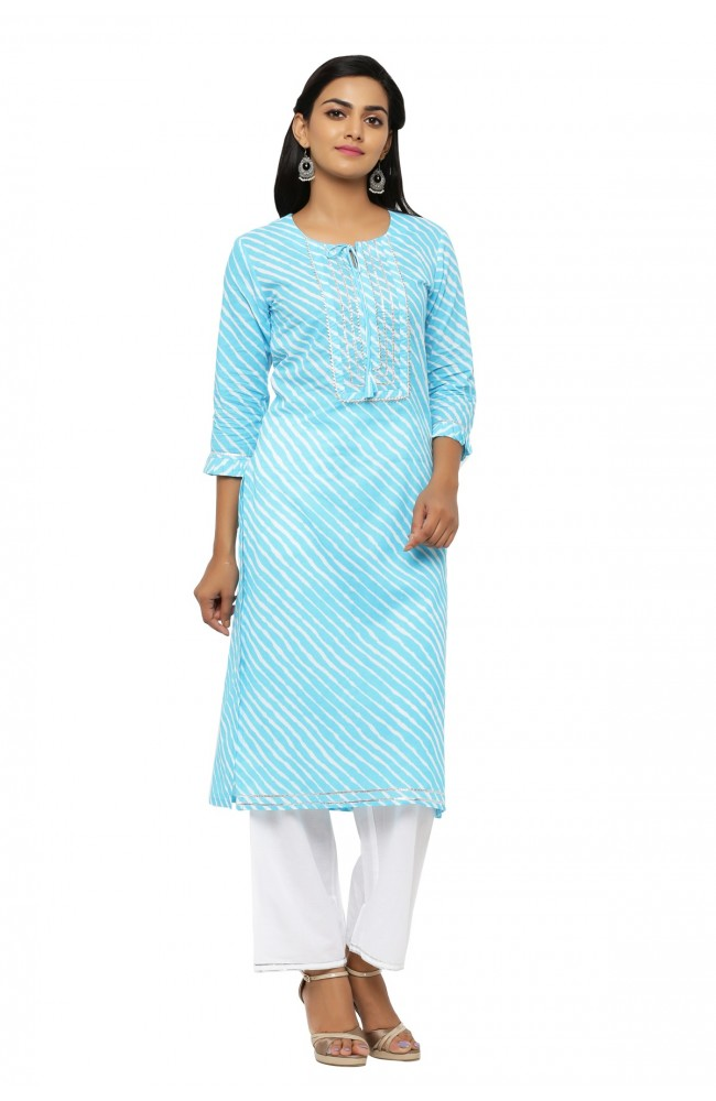Ranas Firozi Color Leheriya Kurta