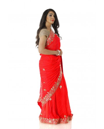 Ranas Red Mothda Pure Georgette Saree