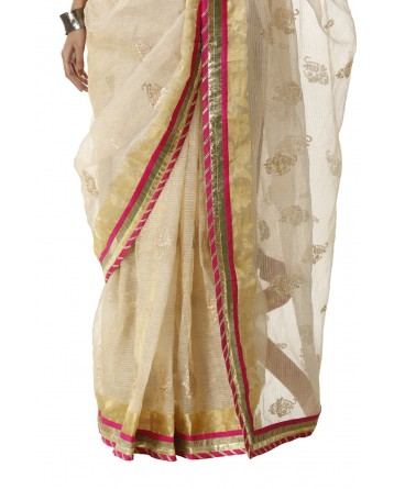 Ranas Golden Kota Tissue Saree