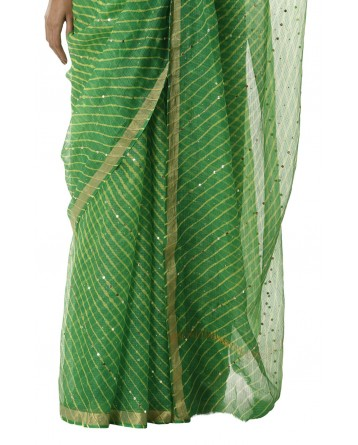 Ranas Green Leheriya Kota Silk Saree