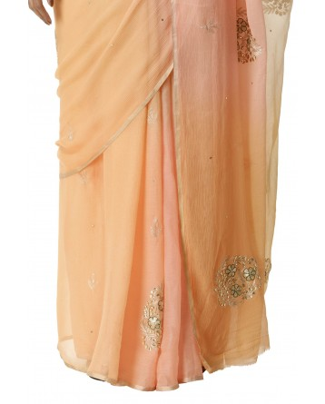 Ranas Peach & Yellow Chiffon Saree