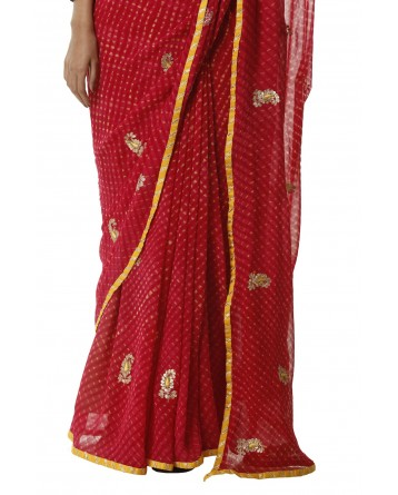 Ranas Red Mothda Gota Patti Saree