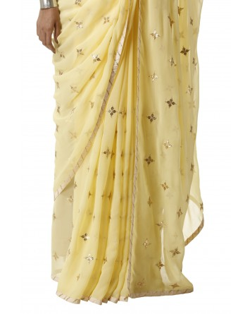Ranas Yellow Georgette Gota Patti Saree
