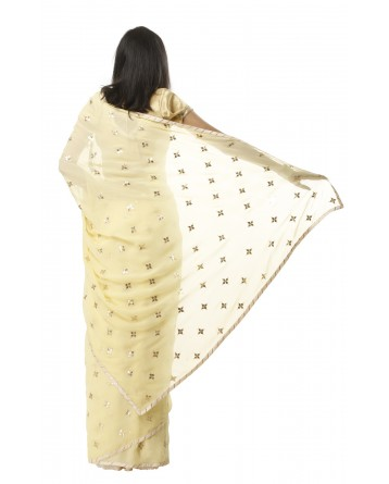 Ranas Yellow Georgette Gotta Patti Saree