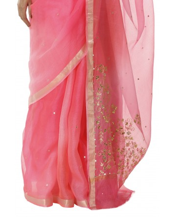 Ranas Pink Shaded Kota Silk Saree