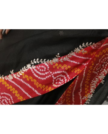 Ranas Black Color Kota Silk Saree